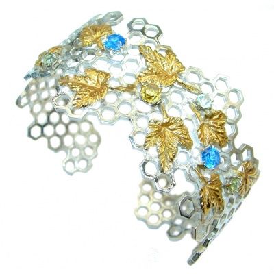 Golden Leaves Genuine Multigem Gold Rhodium plated over Sterling Silver handmade Bracelet