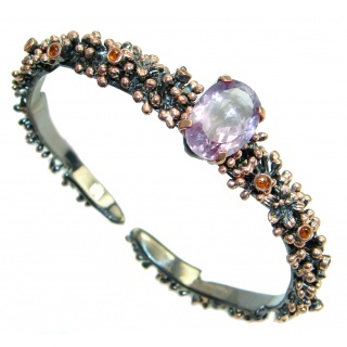 Faceted genuine Amethyst Rose Gold plated over Sterling Silver handmade Bracelet