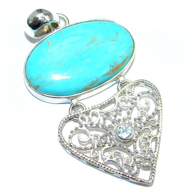 Genuine AAA+ quality Sleeping Beauty Blue Turquoise Sterling Silver handmade Pendant