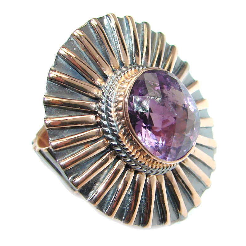Natural Amethyst Rose Gold plated over Sterling Silver handmade ring size adjustable