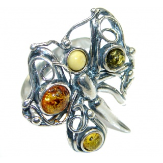 Chunky Genuine Baltic Polish Amber Sterling Silver handmade Ring size 8 1/2