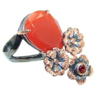 Huge Genuine Carnelian Rose Gold Rhodium plated over Sterling Silver Ring 7