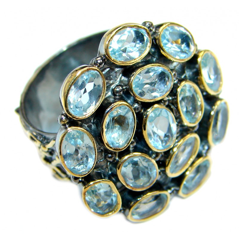 Exotic Swiss Blue Topaz Two Tones Sterling Silver Ring s. adjustable