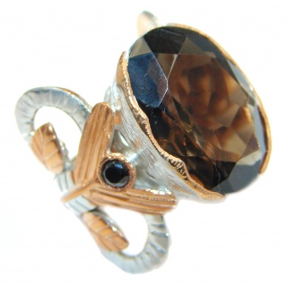 Amazing Genuine Smoky Topaz Gold plated over Sterling Silver ring size 6 1/4