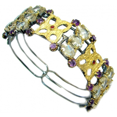 Real Treasure Genuine Citrine Amethyst Gold plated over Sterling Silver Bracelet / Cuff