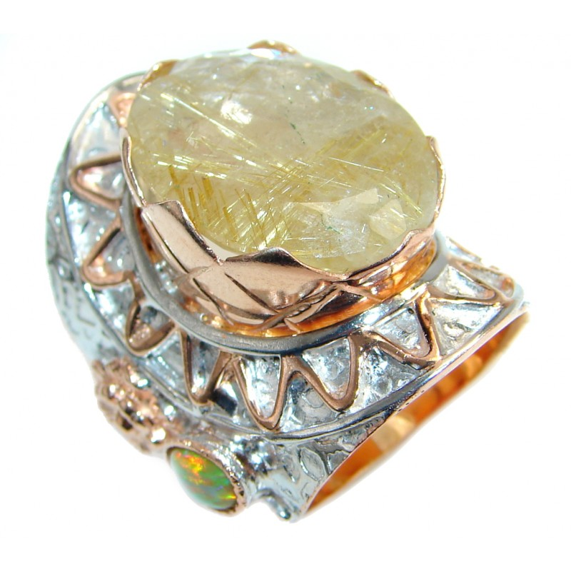 Huge Golden Rutilated Quartz Rose Gold plated over Sterling Silver handmade Ring size 6 3/4