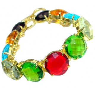 Rich Design Multicolor Topaz Quartz Gold plated over Sterling Silver Bracelet