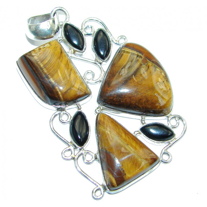 Spectacular Golden Tigers Eye Onyx Sterling Silver handmade Pendant
