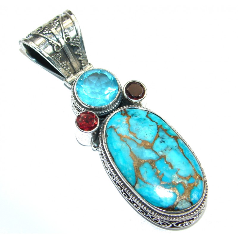 Blue Turquoise with copper vains Sterling Silver handmade Pendant
