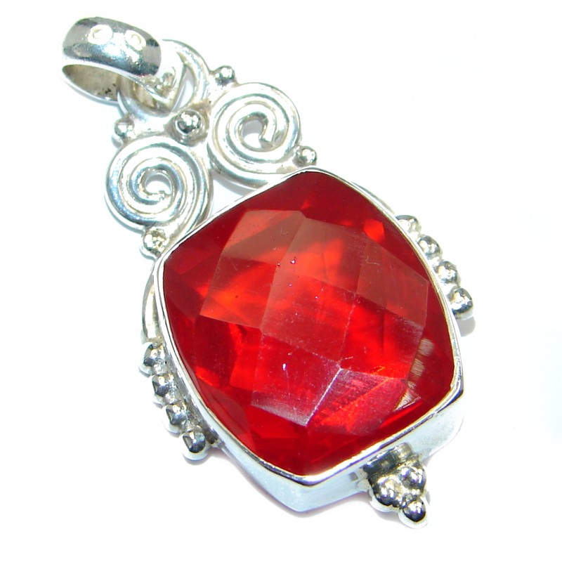 Amazing created red Quartz Sterling Silver Pendant