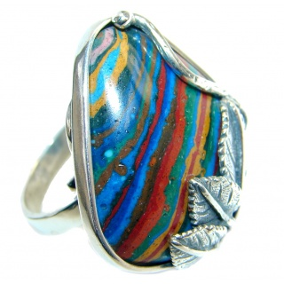 Blue Rainbow Calsilica Sterling Silver handcrafted ring size adjustable