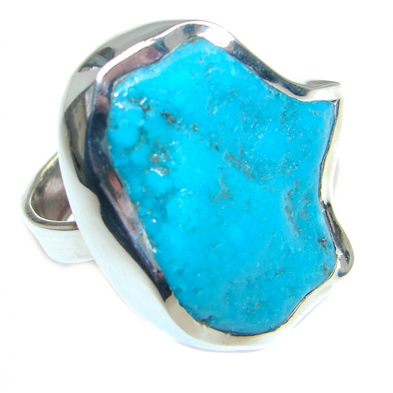 Huge Simple Design genuine Rough Turquoise Sterling Silver handmade ring size 7