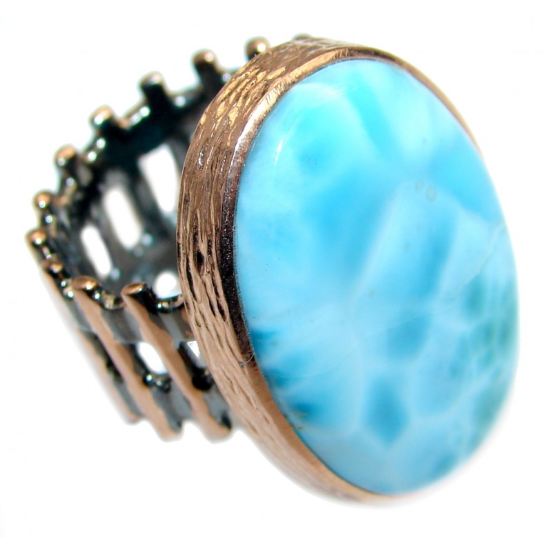Large Genuine Larimar Two Tones Sterling Silver handmade Ring size adjustable