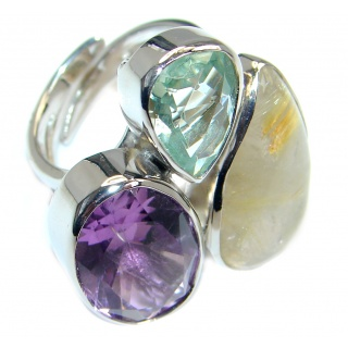 Golden Rutilated Quartz Amethyst Sterling Silver handmade Ring size adjustable