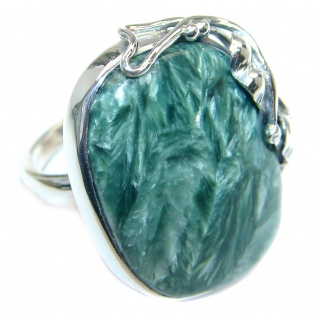Huge AAA quality Green Seraphinite Sterling Silver handcrafted Ring size adjustable