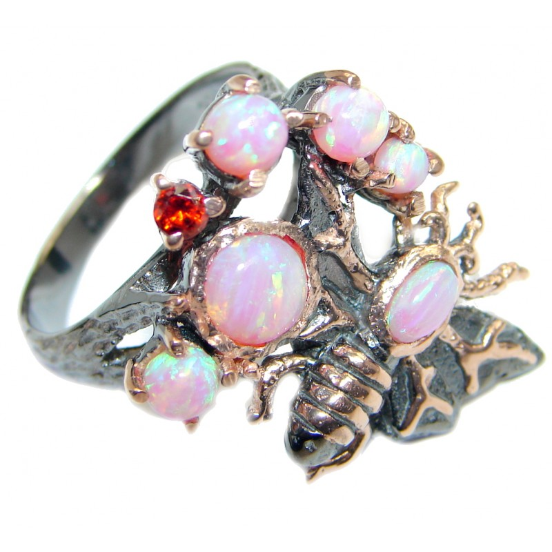 Orange Galaxy Japanese Fire Opal Rose Gold plated over Sterling Silver ring s. 7