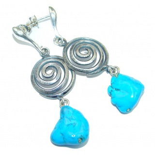 Genuine Sleeping Beauty Turquoise Sterling Silver handcrafted Earrings