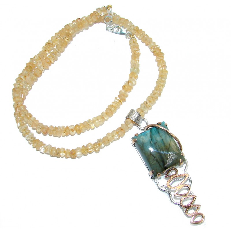 Marvelous quality Fire Labradorite Citrine Beads Rose Gold plated over Sterling Silver handmade necklace