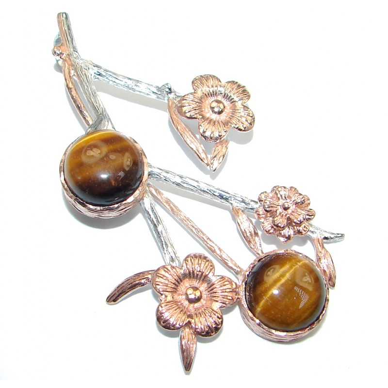 Floral Design Golden Tigers Eye Gold plated over Sterling Silver handmade Pendant