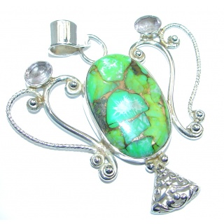 Green Copper vains Turquoise Sterling Silver Pendant