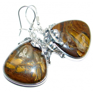 Big genuine Golden Tigers Eye Oxidized Sterling Silver handmade Earrings