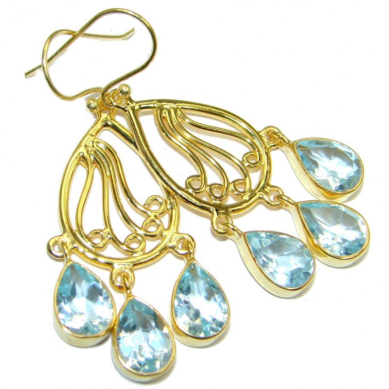 Great genuine Swiss Blue Topaz Gold plated over Sterling Silver earrings