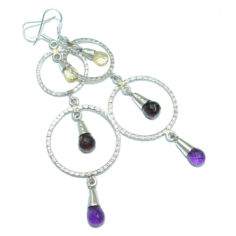 Long 3 7/8 inches Genuine Multigem Sterling Silver handmade earrings