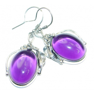 Unique genuine Amethyst oxidized Sterling Silver handmade earrings