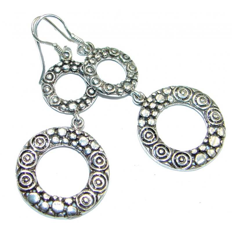Long Perfect Oxidized Sterling Silver earrings