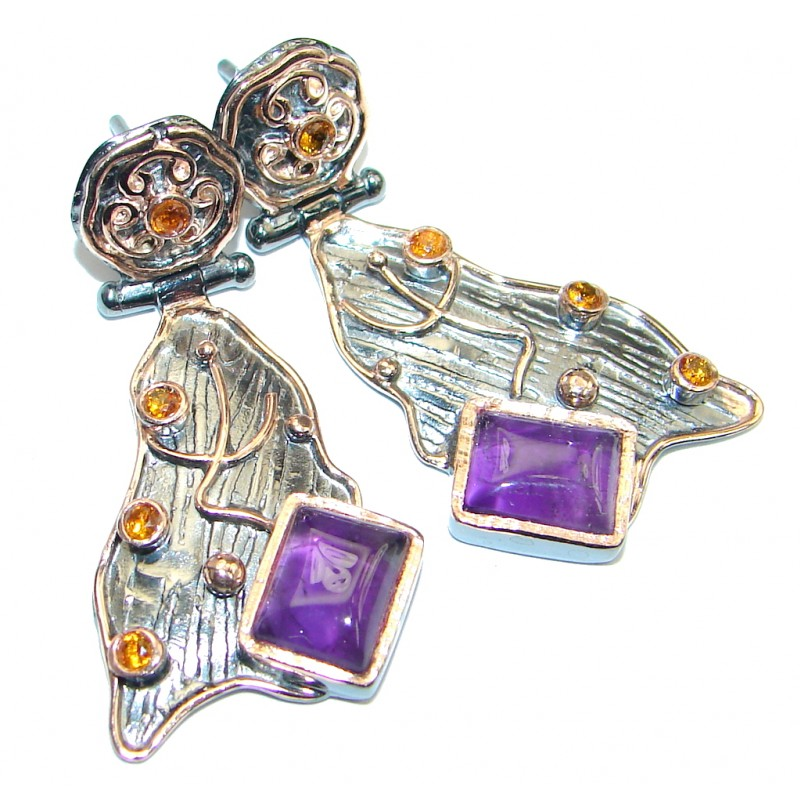 Flawless Amethyst Sapphire Rose Gold plated over Sterling Silver entirely handmade earrings