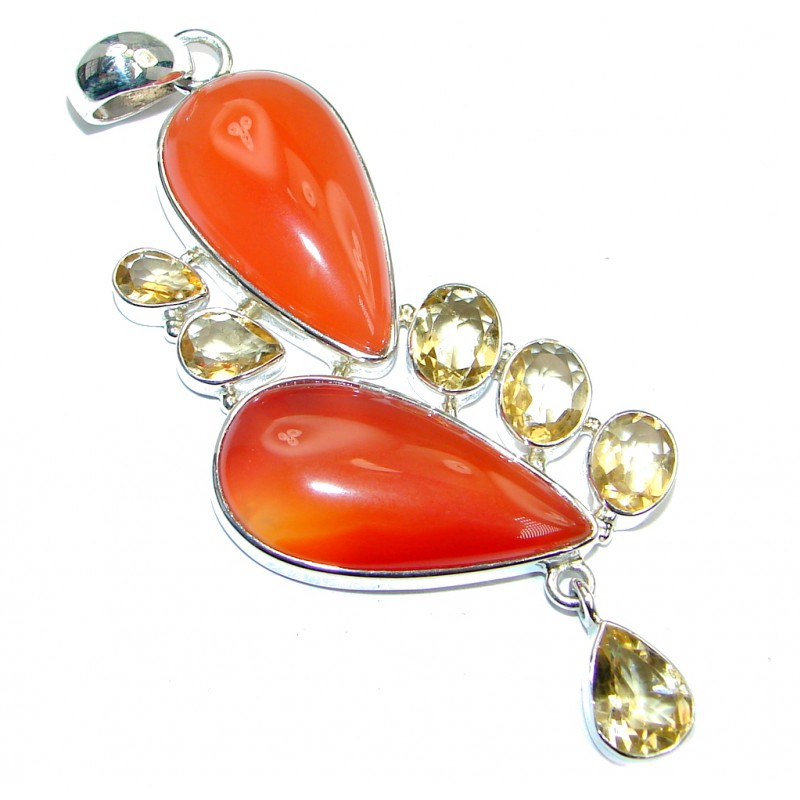 Large Beautiful authentic Carnelian Citrine Sterling Silver handmade Pendant