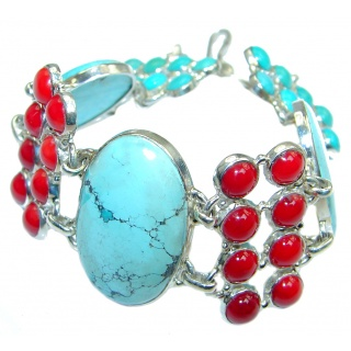 Chunky genuine Turquoise Coral Sterling Silver handmade Bracelet