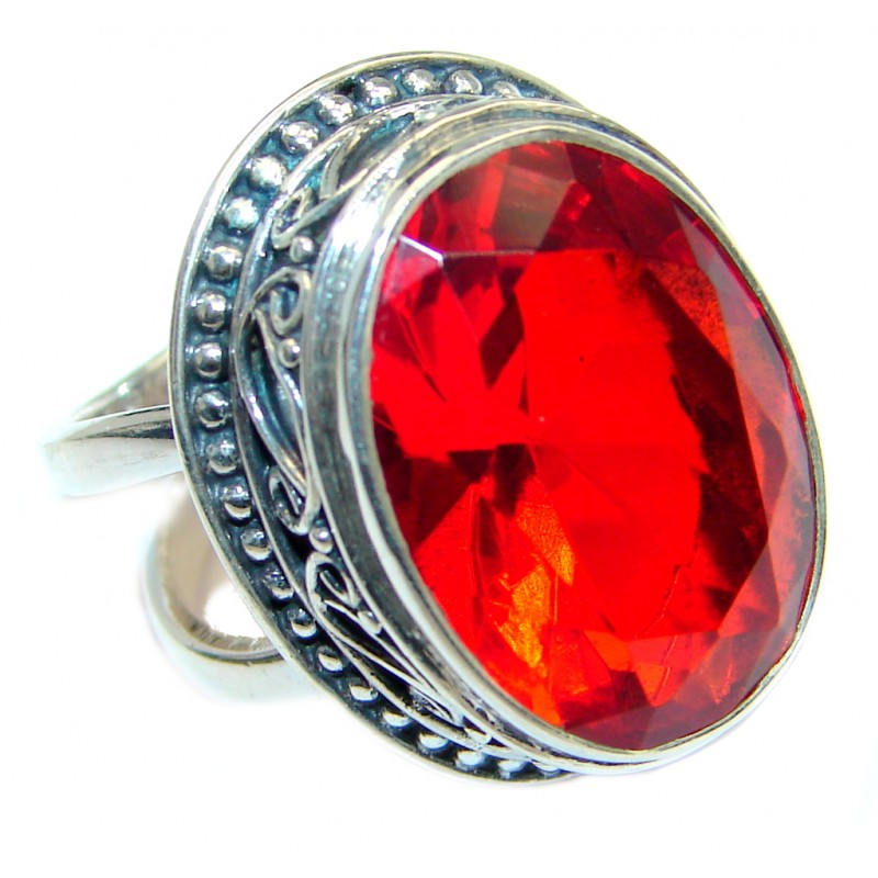 Energazing Red Quartz Sterling Silver Ring size adjustable