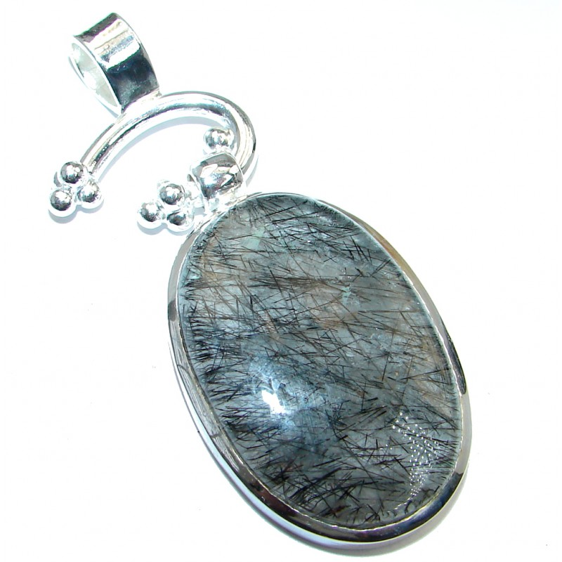 Natural 29.5 grams Tourmalinated Quartz Silver Tone handmade Pendant