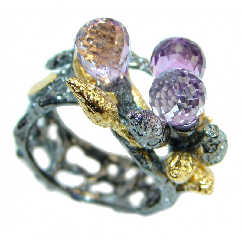 Vintage Look Amethyst Gold plated over Sterling Silver handmade ring size 6