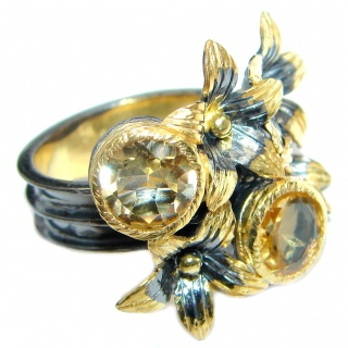 Floral Design Natural Citrine Gold plated over Sterling Silver handmade ring size 8