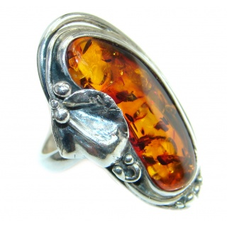 Chunky Genuine Baltic Polish Amber Sterling Silver handmade Ring size 11