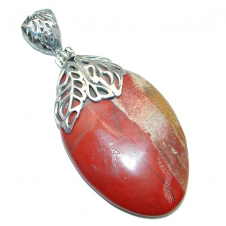 Giant Incredible quality Red Jasper Sterling Silver handmade Pendant