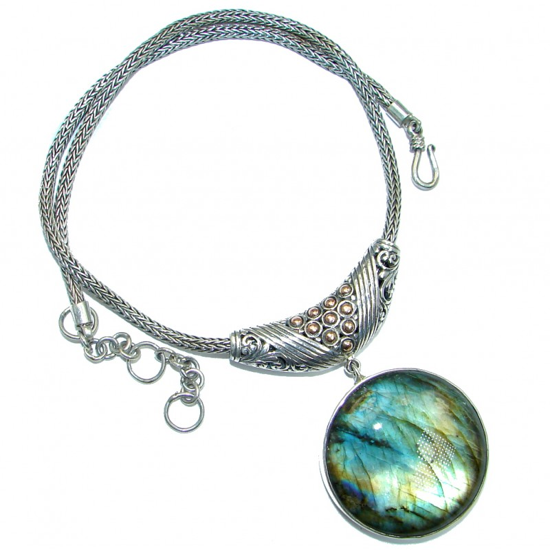 Natural Beauty Labradorite Gold Rhodium Plated over Sterling Silver handcrafted necklace