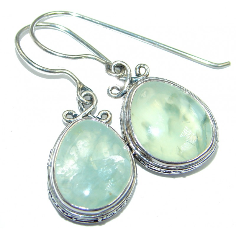 Authentic Moss Prehnite Oxidized Sterling Silver handmade earrings