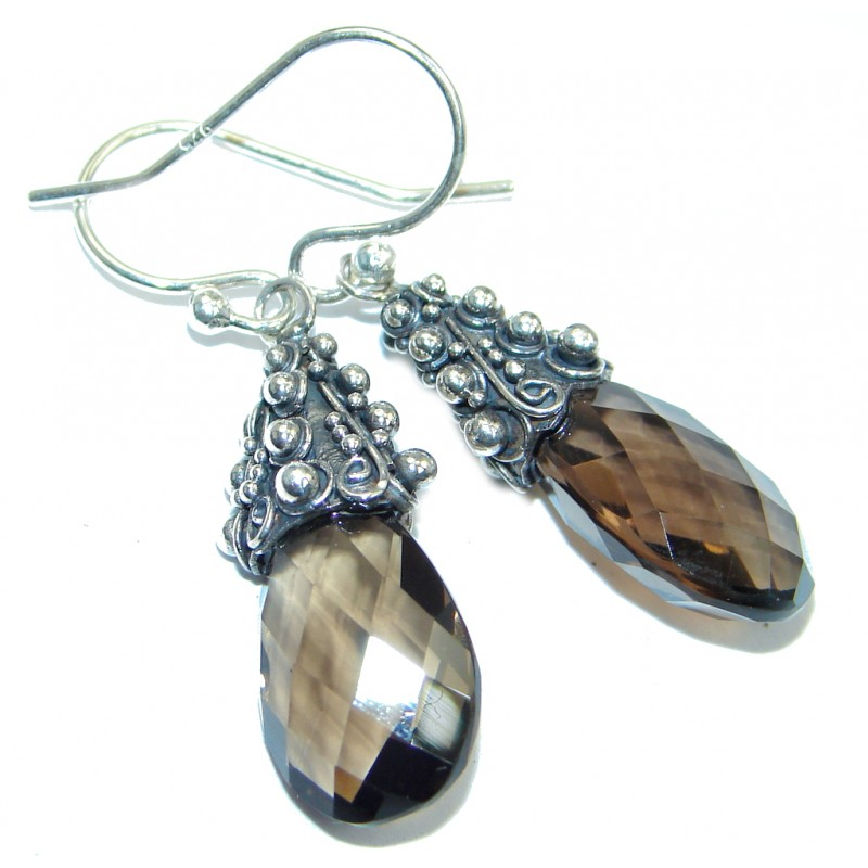 Natural Smoky Topaz Sterling Silver handmade earrings
