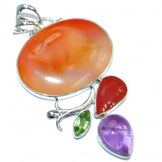 Large Beautiful authentic Carnelian Amethyst Sterling Silver handmade Pendant