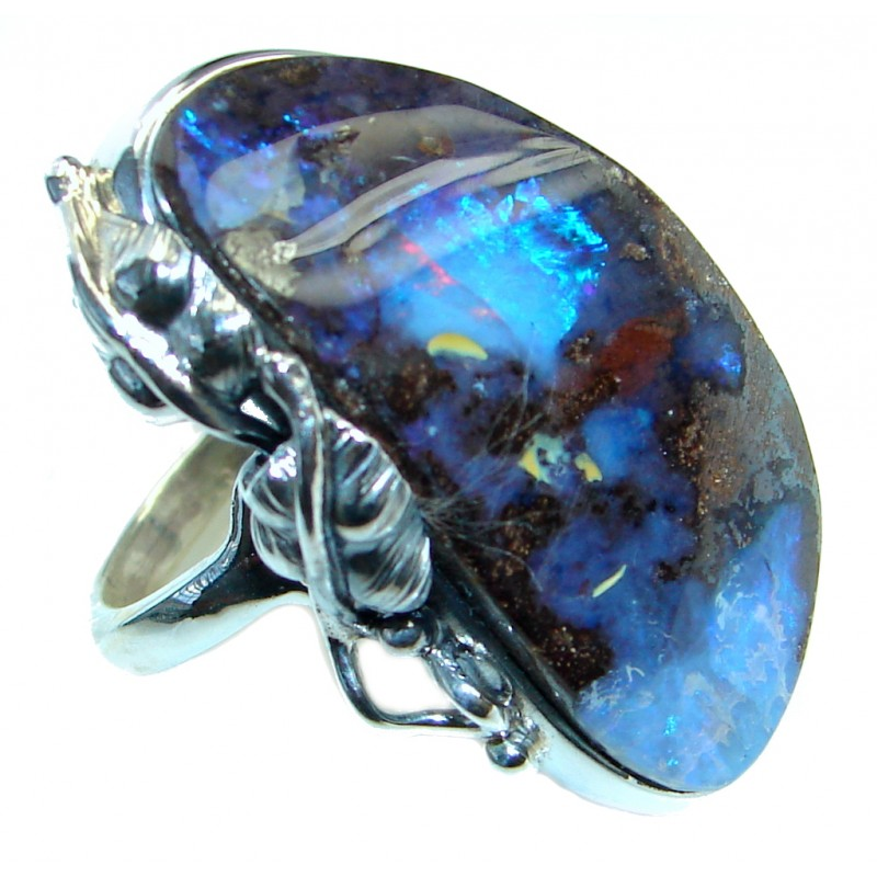 Classic Australian Boulder Opal Sterling Silver handcrafted ring size adjustable