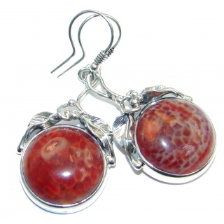 Great Floral Design Orange Mexican Agate Sterling Silver handmade earrings