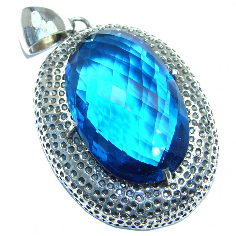 Amazing created Sapphire color Quartz Sterling Silver Pendant