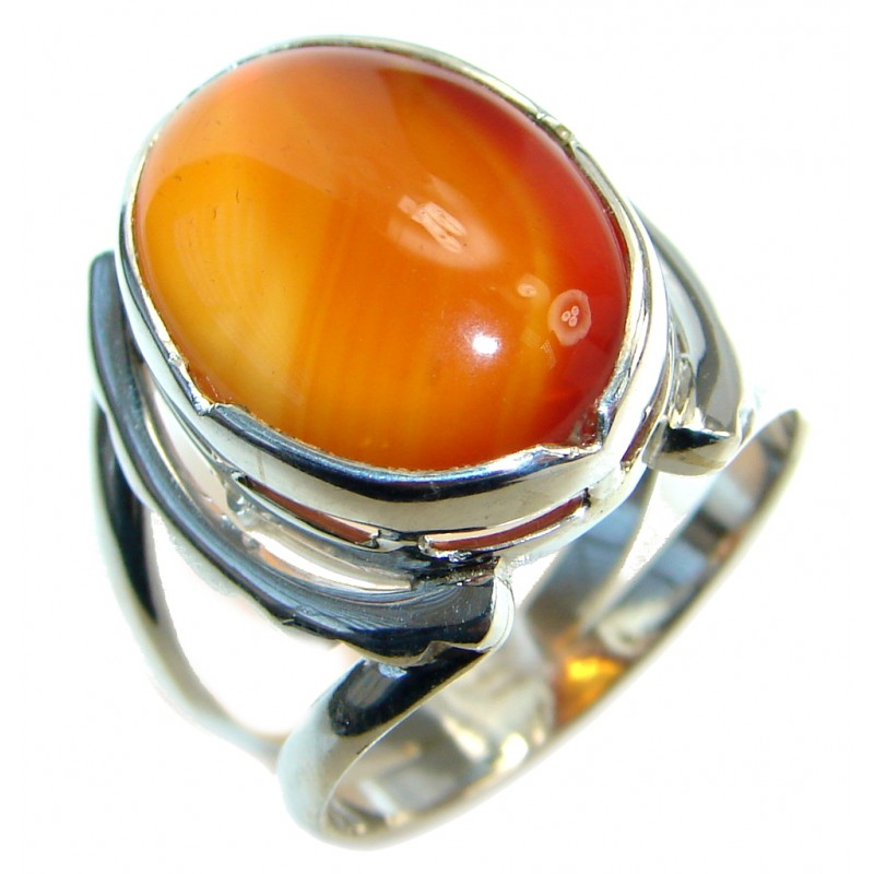 Amazing Genuine Carnelian Sterling Silver Ring 9