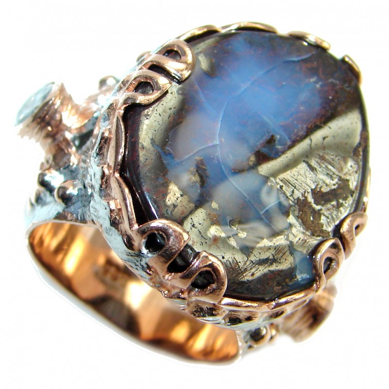 Royal Design Australian Boulder Opal Rose Gold plated over Sterling Silver handcrafted ring size 7 1/2