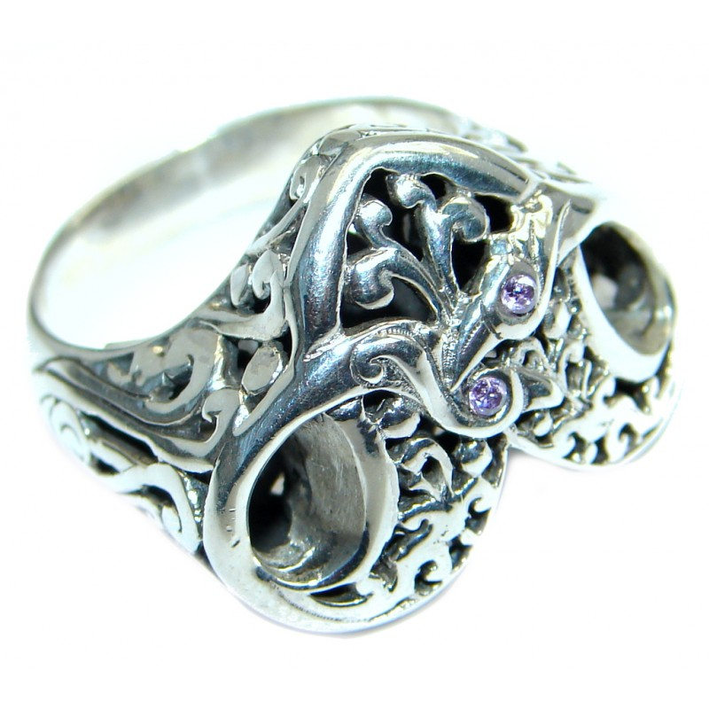 Bold Design Genuine Amethyst Sterling Silver handmade ring size 8 3/4