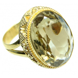 Energazing Yellow Citrine Quartz Gold plated over Sterling Silver Ring size adjustable