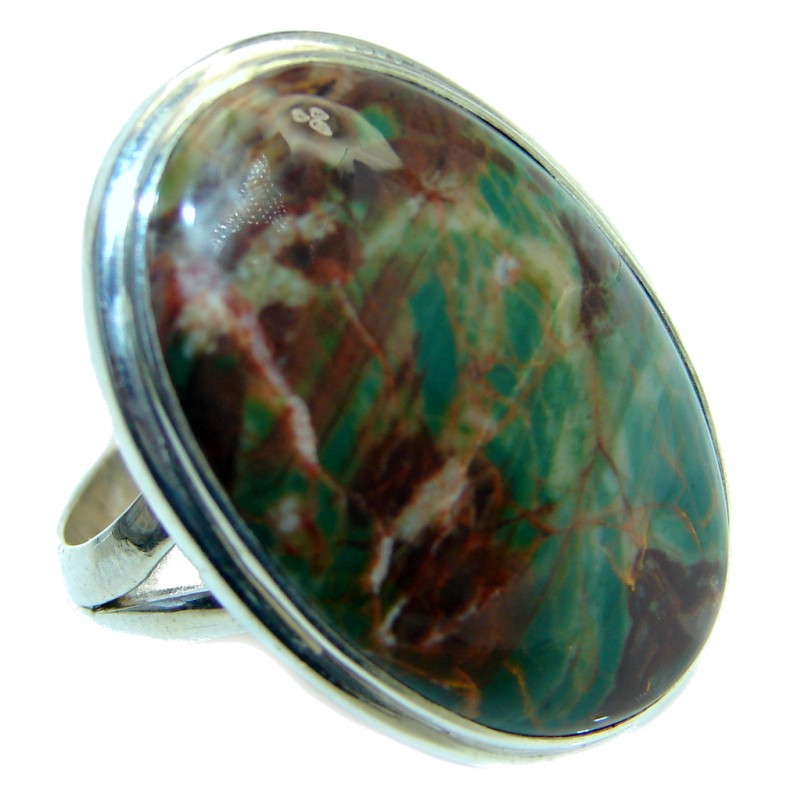 Natural Beauty Green Peruvian Opal Sterling Silver ring size adjustable